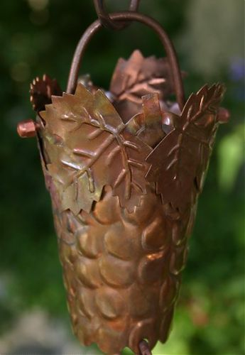 Grape & Leaf Cup Rain Chain | Copper Rain Chain