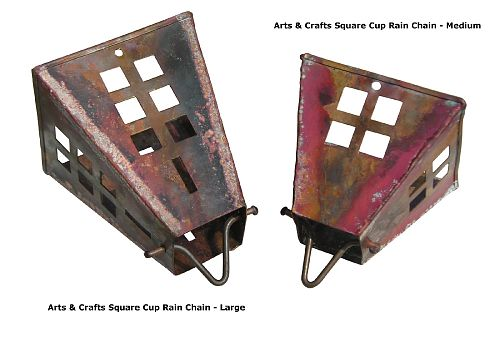Arts & Crafts Square Cups Rain Chain - Large | Copper Rain Chain