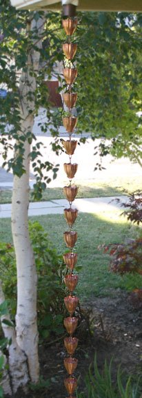 Fluted Cups Rain Chain | Copper Rain Chain