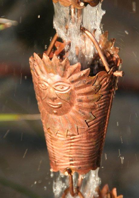 Sun Cups Rain Chain | Copper Rain Chain