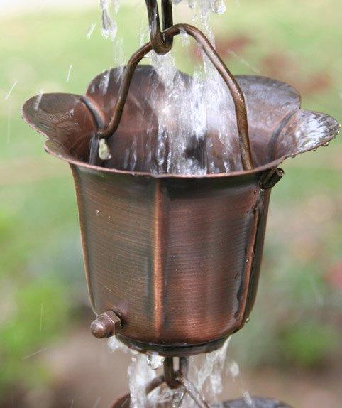 Cup Style Rain Chains Bronze Flower Cups Rain Chain
