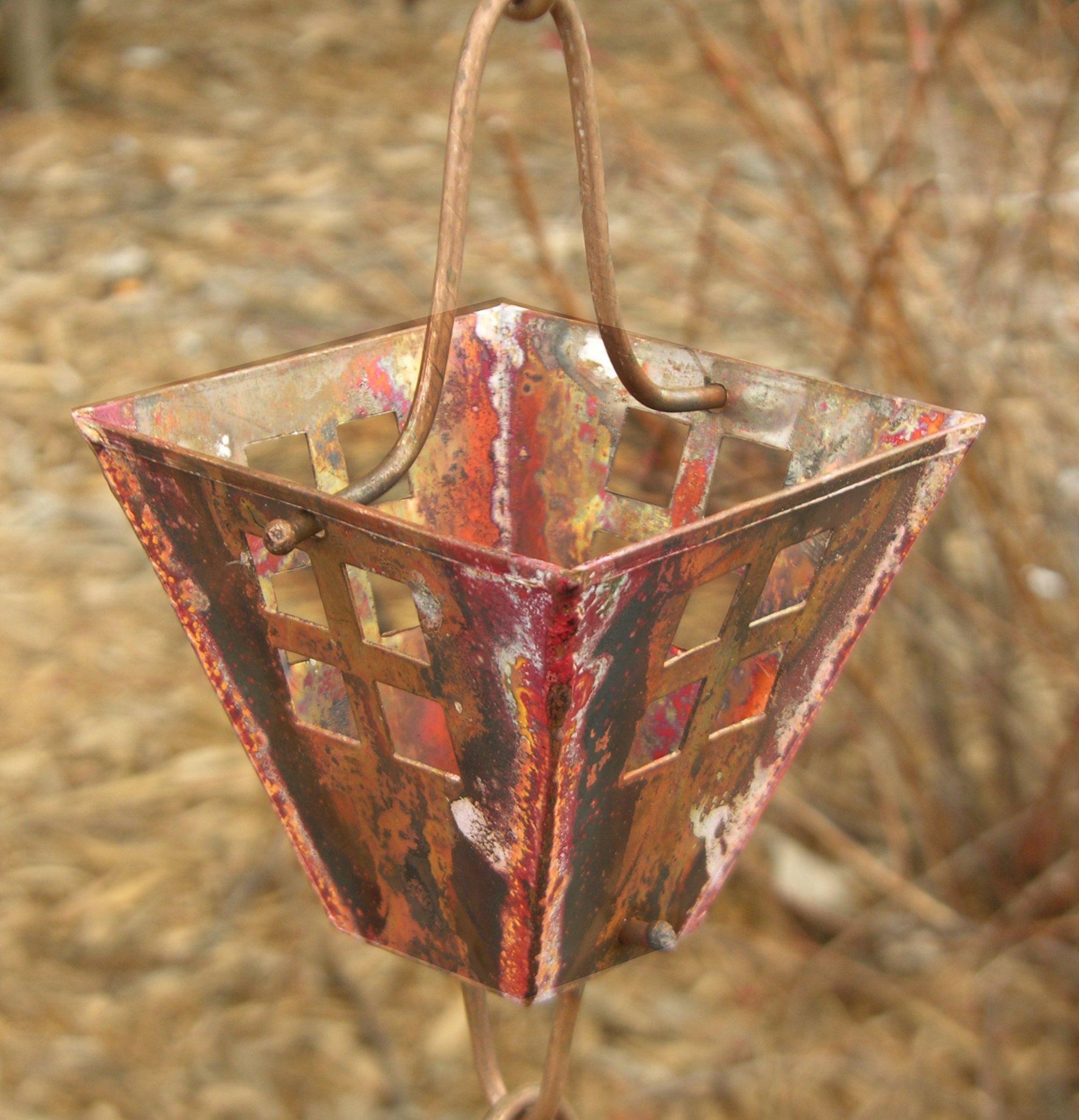 Arts & Crafts Square Cups Rain Chain | Copper Rain Chain