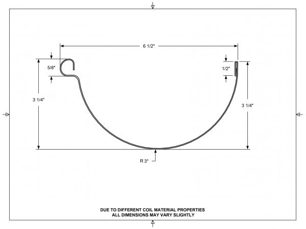 6 Inch Gutter Profile - Half Round Gutters - Aluminum Gutters - Rain Gutter Supplies
