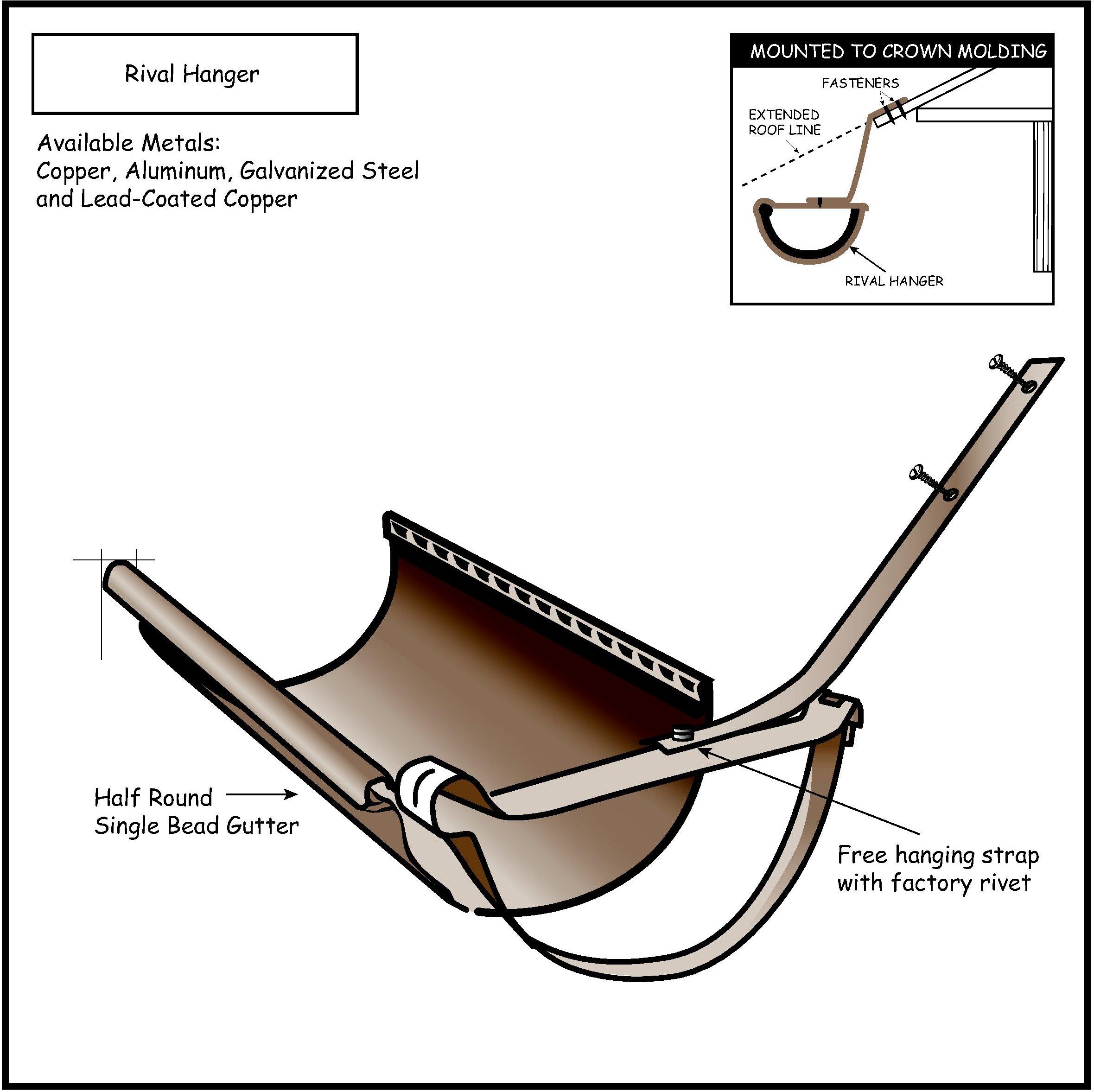 Half Round Hangers Copper Stainless Steel Half Round