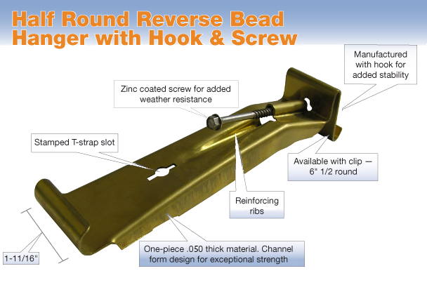 Reverse Bead HR Hanger Hook & Screw - Brass